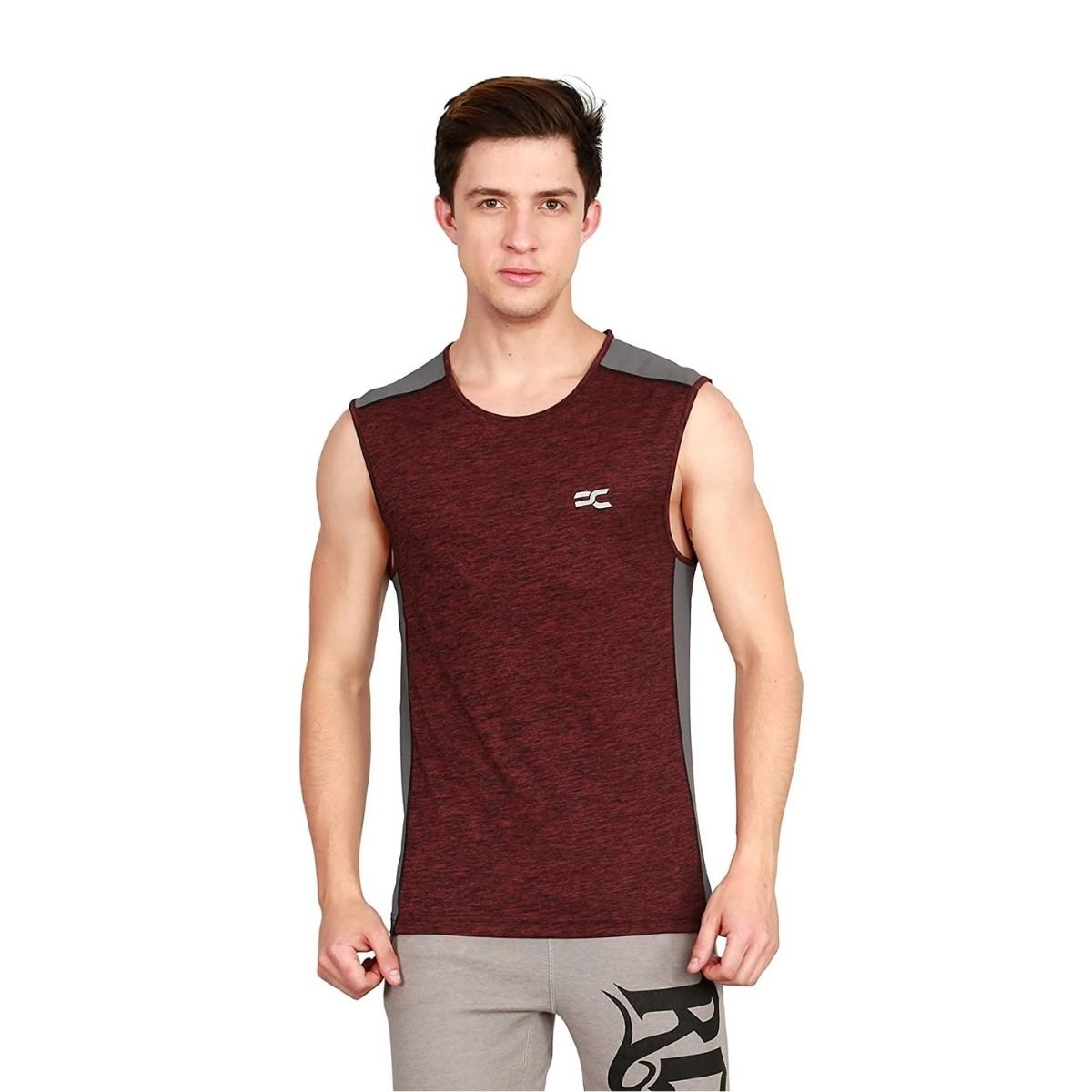 Ronnie Coleman Men's Maroon Color Sports and Casual T-Shirt